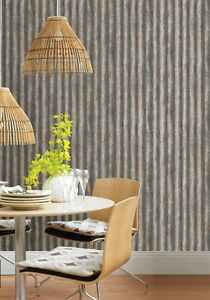 Details About Corrugated Metal Look Wallpaper Pewter