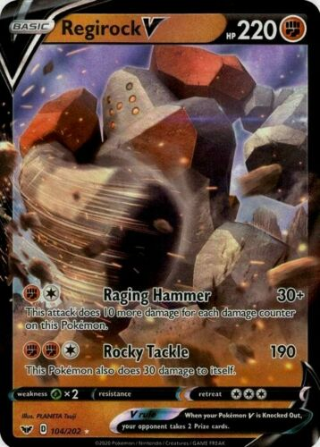 Ultra Rare Holo Pokemon TCG Card Regirock V 104//202 Mint NM