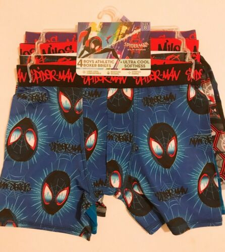 Marvels Spiderman 4pcs Boys Athletic Boxer Briefs Underwear Size 8