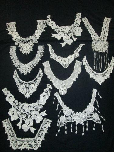 Ivory Venise Guipure Lace Neck Applique Bridal Collar Motif Trim Insert Gala