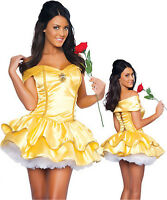 Womens Beauty And The Beast  Princess Belle Fancy Dress Up Party Costume Outfit