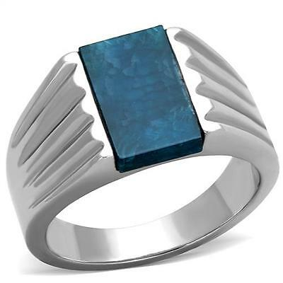 GIFTS FOR MEN Size 9 Stainless Steel Silver Tone Capri Blue Agate Stone Ring