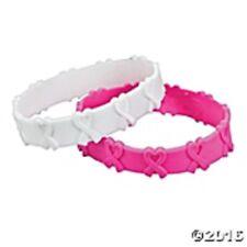 Item 2 Pink Ribbon Pop Out Bracelet Set Of 24 T Cancer Awareness White