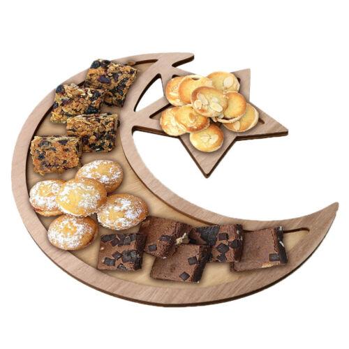 Wooden Artistic Eid Mubarak Party Serving Tableware Tray Display Wood Decoration