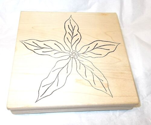 Magenta Rubber stamp Large Flower Poinsettia Holiday flowers Wood Mounted