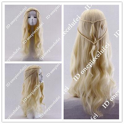 Game of Thrones Daenerys Light Blonde Curly Cosplay Wig 2 Braid Cos Wig