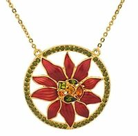 Miriam Haskell Circle Necklace Poinsettia Holiday Collection