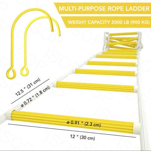 avec crochets-Échelle de secours 3 HISTOIRE Sécurité Échelle de corde 25 ft environ 7.62 m