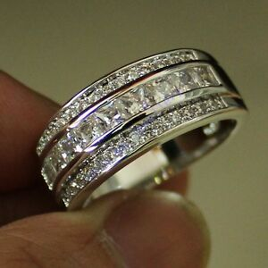 Image Is Loading Size 8 12 Classic Mens White Sapphire