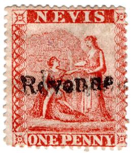I-B-Nevis-St-Kitts-Revenue-Duty-Stamp-1d-1877