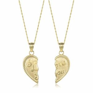 10k solid yellow gold i love you half heart necklace pendant 2 image is loading 10k solid yellow gold i love you half aloadofball Choice Image