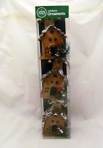 Church-Bird-House-Star-Country-Primitive-Holiday-Christmas-Ornament-Gift-Set
