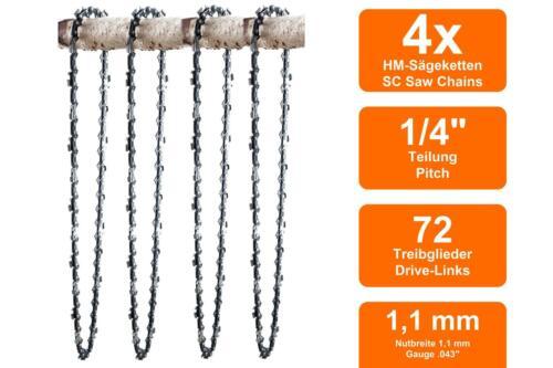 4 Sägeketten passend für Stihl MS151T35cm 1//4 72TG 1,1mm