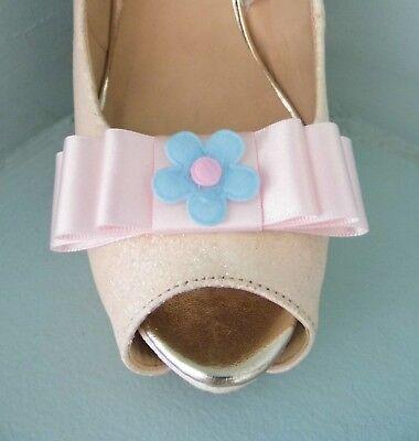 2 Clips Para Zapatos Arco Rosa Bebé Con Fieltro Azul Flor Centre