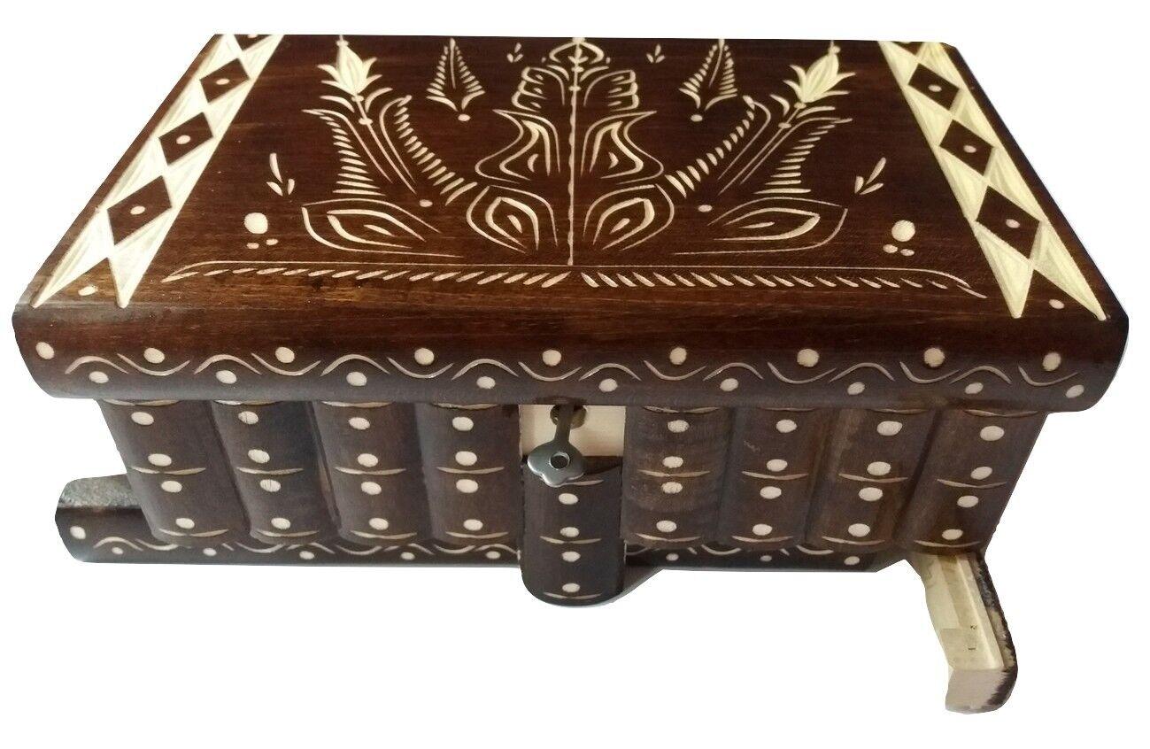 Huge puzzle jewelry magic box brown new big wooden case treasure brain teaser