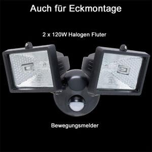 FäHig Doppel Halogen Aussenstrahler Fluter Bewegungsmelder 2 X 120w Flutlicht Schwarz Clear-Cut-Textur Außenstrahler & Flutlichter