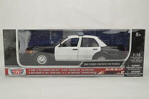 1-18-Motor-Max-2001-Ford-Crown-Victoria-Lapd-Policia-Coche-Car-Limpiar-Ver