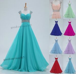 New-Chiffon-Cap-Sleeve-Long-Formal-Prom-Dresses-Party-Bridesmaid-Evening-Gowns