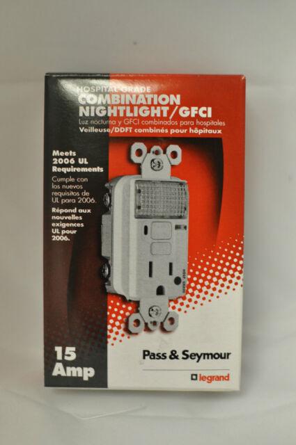 Pass /& Seymour Hospital Grade Nightlight Combo 15A GFCI Ivory w// LED 1595-HGNTLI