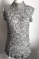 ZARA Silver Beaded Embroidered FUTURISTIC Haute Couture dress Top metallic M S