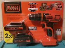 BRAND NEW Black+Decker 20v Max Lithium Cordless Drill w/ 2 Batteries. LDX120C-2