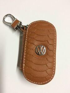 VW Volkswagen Leather  Fob Key chain Remote Cover Case Crocodile Style Brown