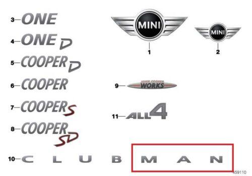 Mini Neuf Authentique F54 Clubman Arrière Emblème Badge étiquette Autocollant Man 7376044