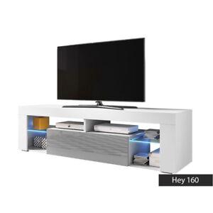 Dettagli su Mobile basso tv Hey 160 con opzione luce a led. Misure in cm.  L160xH55xP35.