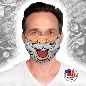 Santa-Claus-happy-Christmas-face-mask-Gray-beard-Reusable-Soft-Free-Shipping
