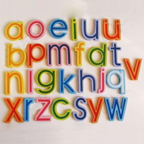 27//Set Wooden Alphabet A-Z Lowercase Letters Fridge Magnets Kids EducationalToy