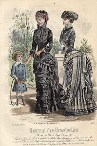 """109/ Gravure De Mode """" Journal Des Demoiselles """" 1882 Superbes Couleurs !"""