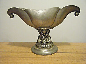 Expressive Arts & Crafts Einar Dragsted Pedestal Pewter Bowl With Child Mermaids Copenhagen Arts & Crafts Movement Periods & Styles