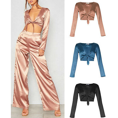 Womens Crushed Satin V Neck Knot Crop Long Sleeve Blouse Party Top UK 8-14