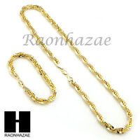 14k Gold Finish 8mm Migos Digital Rope Chain Necklace Bracelet Various Seta