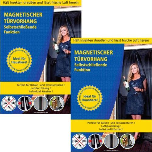 2x Rideau magnétique porte-insectes Rideau avec 18 Aimants selbstschliessend