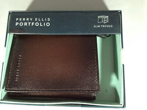 BNWT Perry Ellis Michigan Trifold Leather Wallet – Brown