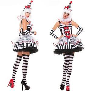 damen harlekin halloween kost m kleid zirkus harlekinkost m pierrot fasching neu ebay. Black Bedroom Furniture Sets. Home Design Ideas
