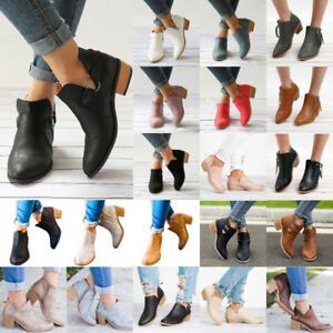 Womens-High-Heel-Block-Short-Ankle-Boots-Booties-Casual-Zipper-Flat-Shoes-Size