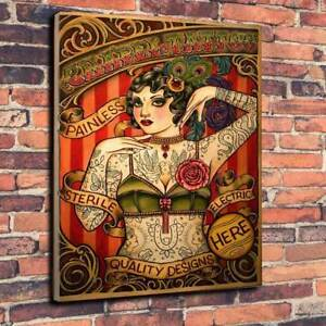 Tattoo-Parlour-Sign-Tattooed-Printed-Canvas-Picture-Multiple-Sizes-30mm-Deep