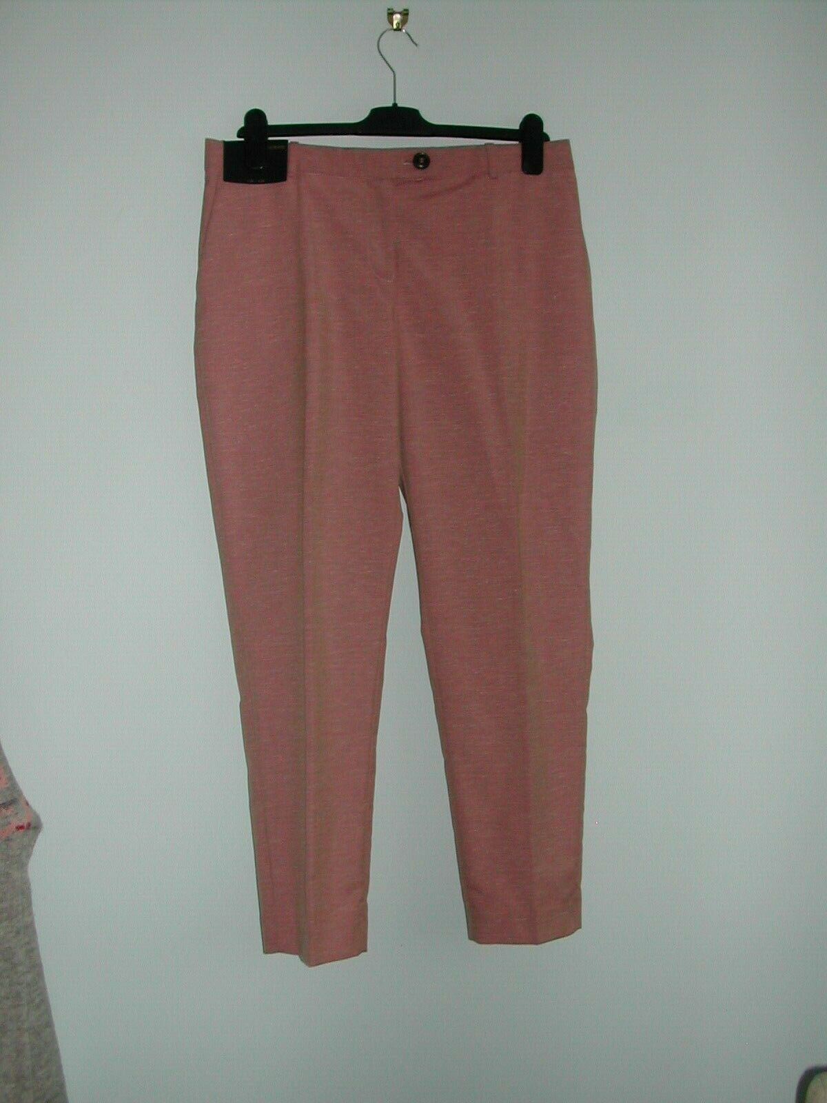 LADIES TAILORED SLIM LINEN BLEND TROUSERS  -  NEXT  -  PINK  -  SIZE 12  -  BNWT