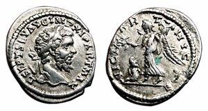 *AET* SEPTIMIUS SEVERUS AR Denarius. EF-. Laodicea mint. VICT PARTHICAE.