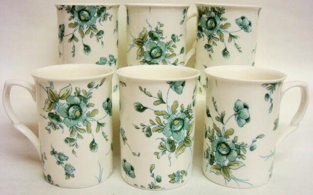 Eden Emerald tasses Set de six Fine Bone China Eden mugs main décoré dans le Royaume-Uni