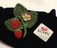 Kuehn Hand Painted Pewter Strawberry Pin From Germany