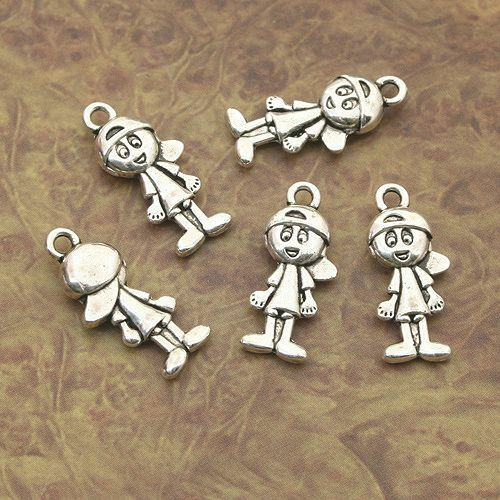 Cartoon Boy Girl Beads Tibetan Silver Charms Pendant DIY Bracelet 10pcs 2 Styles