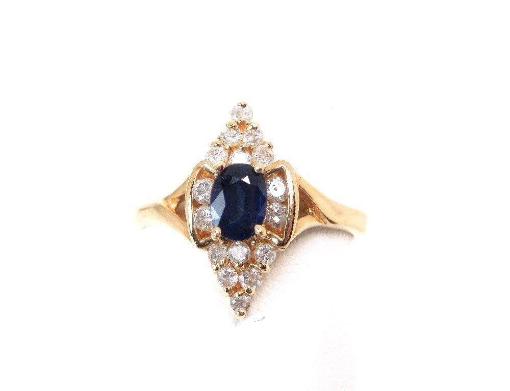 SAPPHIRE .50 ct DIAMOND .24 ct 14K YG Ring - Size 7 1 2  GAL AppraisalGift Box