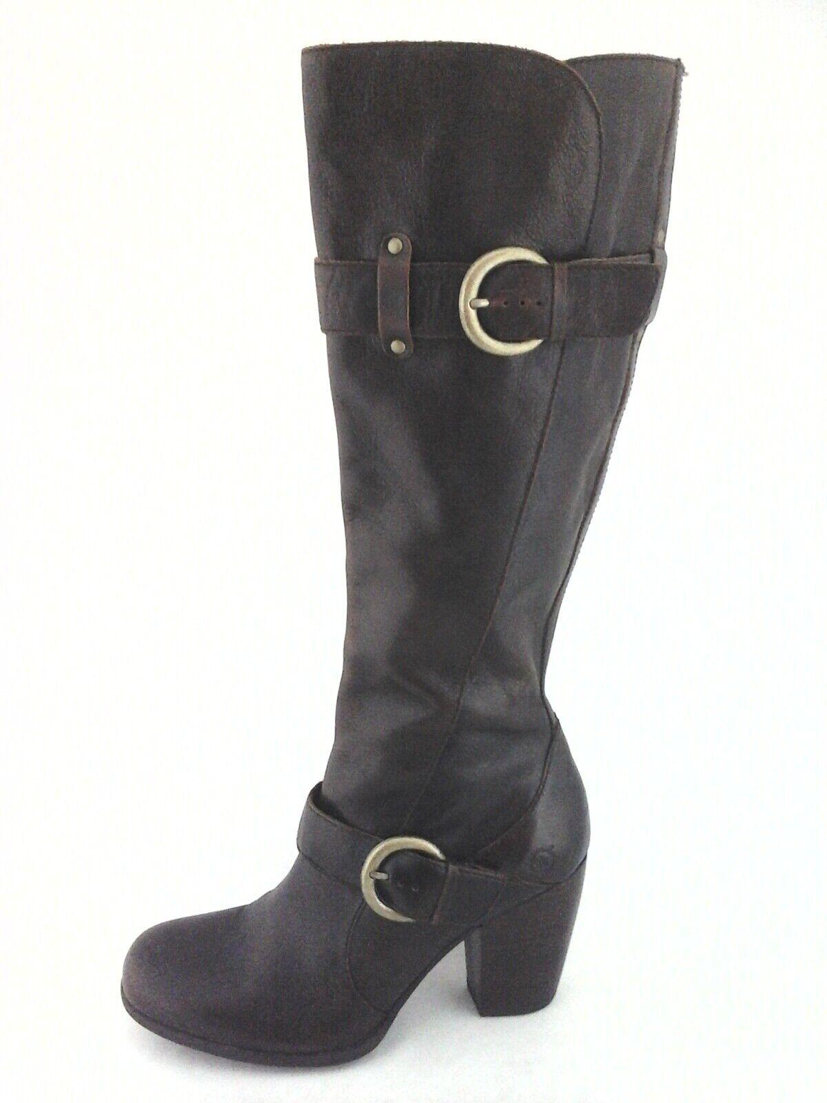 Nacido botas Altas Cuero Marrón Oscuro Rimes grueso talón para Mujer US 6