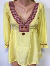 ODD MOLLY Gr.1 S 35%SEIDE Bluse Tunika Top Mehrfarbige Stickerei Gelb