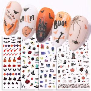 3D-Nagel-Aufkleber-Abziehbilder-Bat-Pumpkin-Spider-Pattern-Nail-Art-Halloween