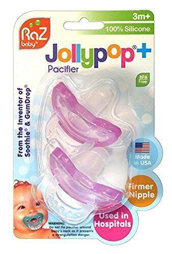 Razbaby JollyPop 3 Pink Months Pacifier 10 Pack Unscented