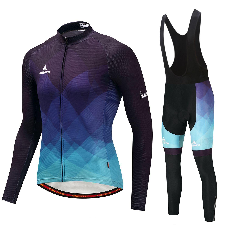 bluee Mens Cycling Kit Reflective Long Sleeve Jersey Coolmax Pants Bib Tights Set
